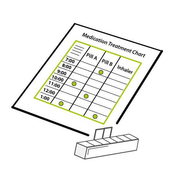 drawing of a medical chart