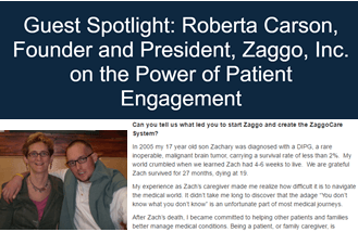 screenshot from BBK.com with Roberta Carson's article on the power of patient engagement article