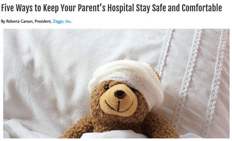 article on staying comfortable and safe in hospital screen shot: Zaggo news