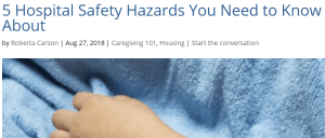 screenshot from TheCaregiverSpace.org of Roberta Carson's article on hospital safety hazards