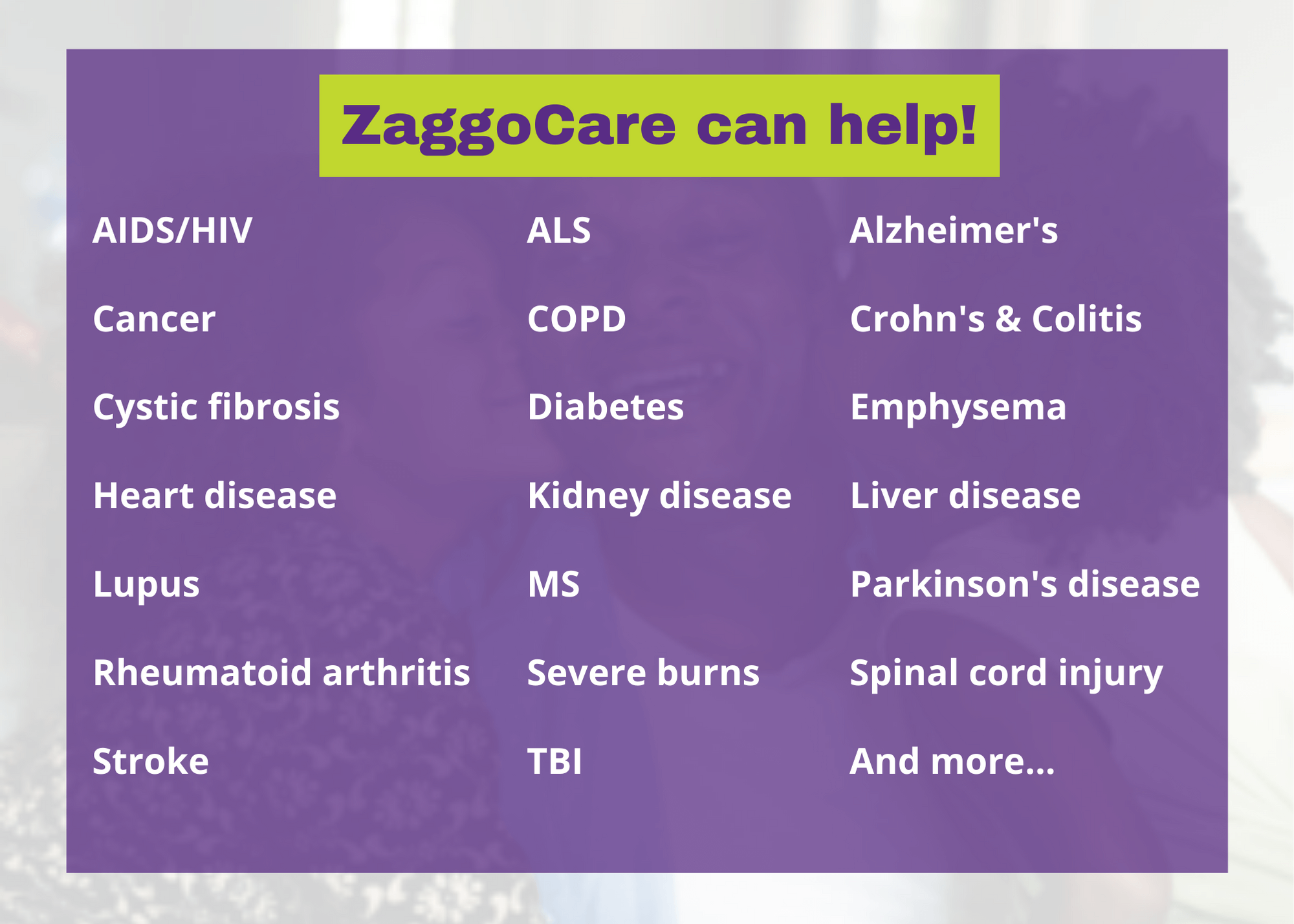 chart ZaggoCare helps with any medical condition including cancer, diabetes, heart disease, stroke, injury, ALS, COPD